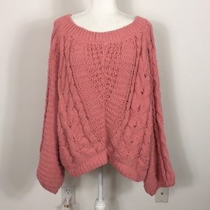 Express Cable Knit Pink Balloon Sleeve Sweater